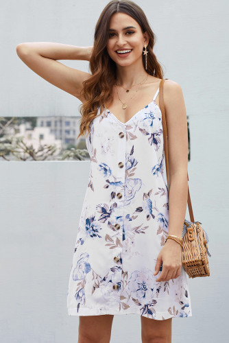 White Floral Pattern Buttoned Slip Cami Dress LC220720