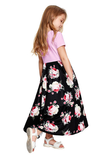 Black Striped Floral Print Little Girls Maxi Dress TZ61045