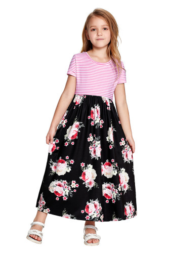 Black Striped Floral Print Little Girls Maxi Dress