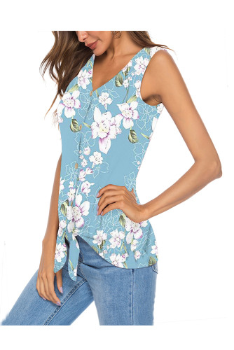 Light Blue Women's Clothes Button Tie Front V Neck Strappy Shirt Casual Sleeveless Blouses Vest Tank Tops A31