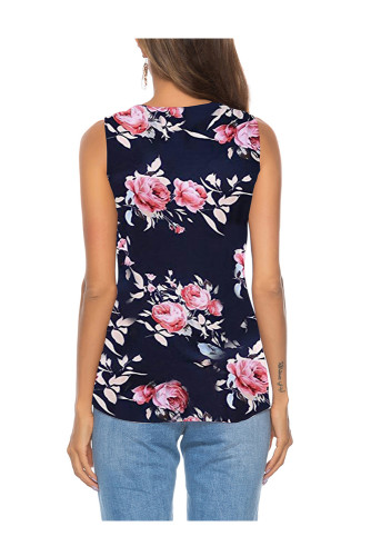 Dark Blue Women's Clothes Button Tie Front V Neck Strappy Shirt Casual Sleeveless Blouses Vest Tank Tops A31