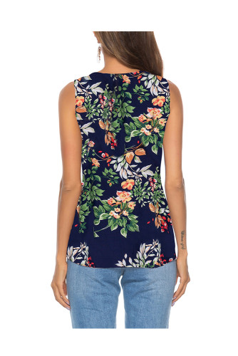Navy Women's Clothes Button Tie Front V Neck Strappy Shirt Casual Sleeveless Blouses Vest Tank Tops A31