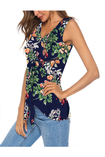 Navy Women's Clothes Button Tie Front V Neck Strappy Shirt Casual Sleeveless Blouses Vest Tank Tops