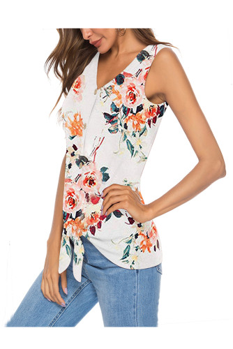 Wite Women's Clothes Button Tie Front V Neck Strappy Shirt Casual Sleeveless Blouses Vest Tank Tops A31