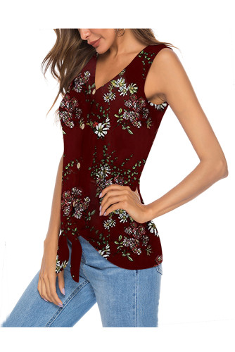 Wine Red Women's Clothes Button Tie Front V Neck Strappy Shirt Casual Sleeveless Blouses Vest Tank Tops A31