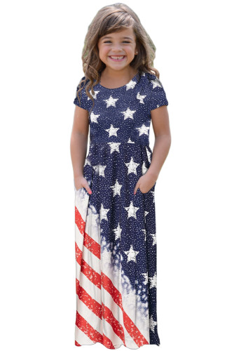 Flag Print Stars and Stripes Print Loose Casual Maxi Dress with Pockets