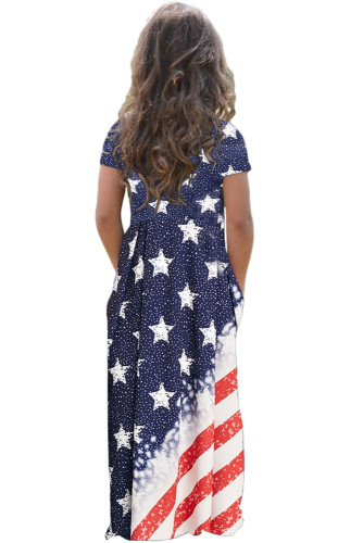 Flag Print Stars and Stripes Print Loose Casual Maxi Dress with Pockets TZ61057