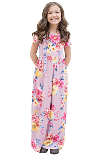 Purple Short Sleeve Floral Print Loose Casual Maxi Dress with Pockets