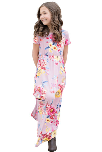 Purple Short Sleeve Floral Print Loose Casual Maxi Dress with Pockets TZ61057