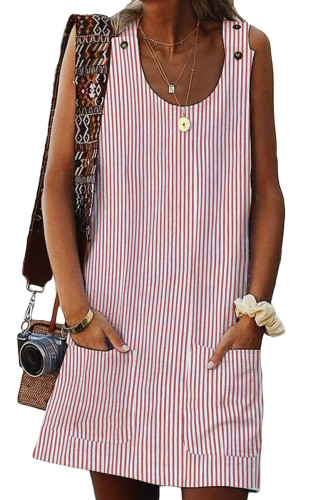 Pink Boho Crew Neck Pockets Daily Striped Shift Dress