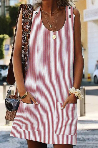 Pink Boho Crew Neck Pockets Daily Striped Shift Dress LC220749