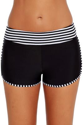 Black White Striped Trim Swim Board Shorts