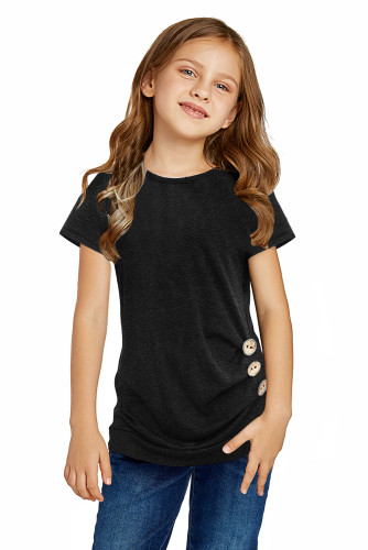 Black Side Button Detail Short Sleeve T Shirt for Little Girls