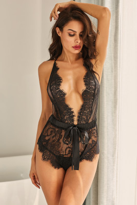 Plunge V Eyelash Neckline Strappy Open Back Teddy