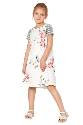 White Stripes Short Sleeve Floral Little Girl Dress