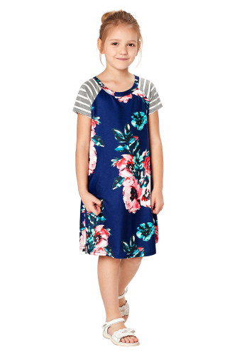 Blue Stripes Short Sleeve Floral Little Girl Dress