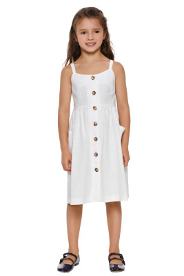 White Little Girls Spaghetti Strap Button Dress with Pockets