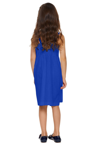 Blue Little Girls Spaghetti Strap Button Dress with Pockets TZ22055