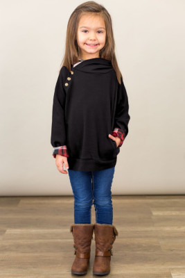 Black Toddlers Double Hooded Sweatshirt