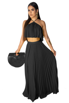 Black Casual 2 Pieces Halter Ruffle Dress Crop Top Long Maxi Dresses Skirt Set