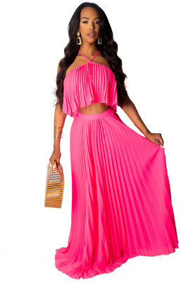 Rose Red Casual 2 Pieces Halter Ruffle Dress Crop Top Long Maxi Dresses Skirt Set