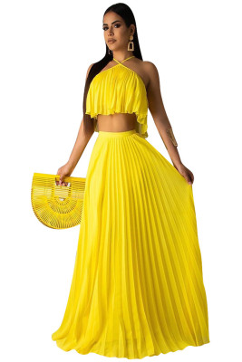Yellow Casual 2 Pieces Halter Ruffle Dress Crop Top Long Maxi Dresses Skirt Set