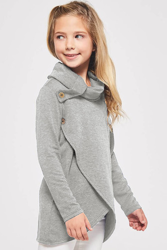 Gray Toddler Little Girls Turtleneck Blouse Top