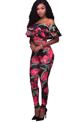 Multicolor Floral Printed Ruffles Off Shoulder Pant Set