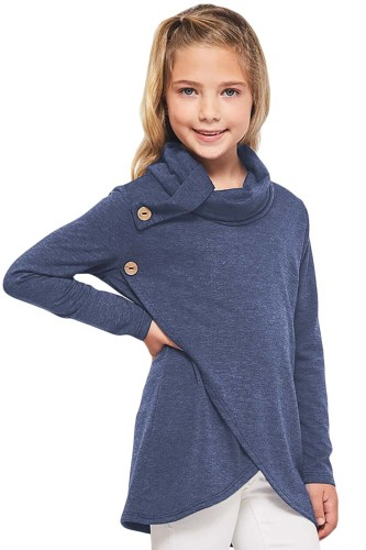 Blue Toddler Little Girls Turtleneck Blouse Top