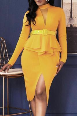 Yellow Long Sleeve Mid-Calf Falbala Asymmetrical Pullover Dress