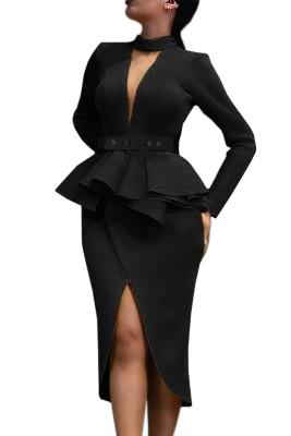 Black Long Sleeve Mid-Calf Falbala Asymmetrical Pullover Dress