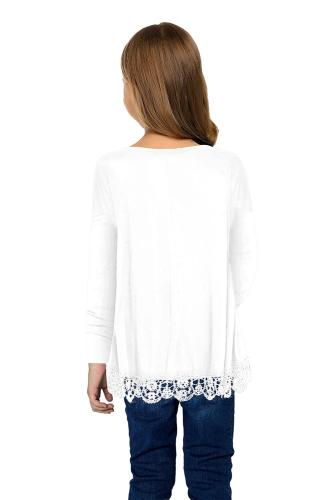 White Long Sleeve Lace Trim O-neck A-line Tunic Blouse TZ25116