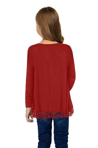 Red Long Sleeve Lace Trim O-neck A-line Tunic Blouse TZ25116