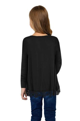 Black Long Sleeve Lace Trim O-neck A-line Tunic Blouse TZ25116