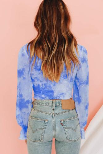 Blue Shirred Long Sleeve Crop Top LC252467