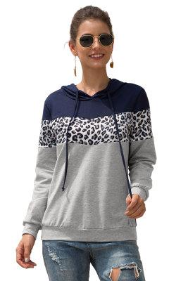 Color Block Leopard Contrast Hoodies