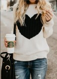 Front Heart-shape Embroidery Pullover Sweater