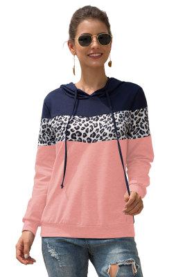 Pink Color Block Leopard Contrast Hoodies