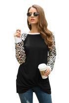 Black Long Sleeve Leopard Print T-shirt Round Neck Loose Top