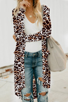 Leopard Print  Button Down Pocketed High Low Cardigan