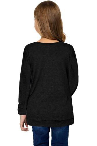 Black Little Girls Long Sleeve Buttoned Side Top TZ25122