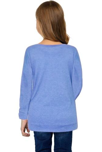 Sky Blue Little Girls Long Sleeve Buttoned Side Top TZ25122