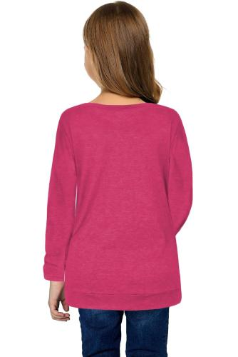 Rose Little Girls Long Sleeve Buttoned Side Top TZ25122