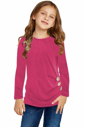 Rose Little Girls Long Sleeve Buttoned Side Top