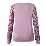 Pink Leopard Sleeve Pullover with Side Pockets