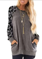 Grey Leopard Sleeve Pullover with Side Pockets