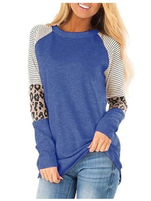 Striped Leopard Sleeve Patchwork Blue Tops
