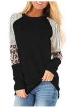 Striped Leopard Sleeve Patchwork BlackTops