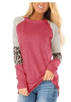 Striped Leopard Sleeve Patchwork Pink Tops