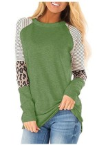 Striped Leopard Sleeve Patchwork Green Tops